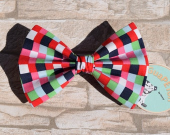 "Bow Tie Bowtie ""Red Black Chequered"" for dogs, cats or other pets, coloured chequered"