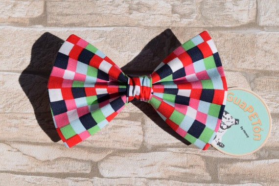 """Bow Tie Bowtie """"Red Black Chequered"""" for dogs, cats or other pets, coloured chequered"""