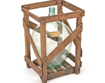 Antique Crated Vineyard Demijohn