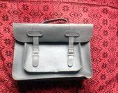 Vintage French Leather Schoolbag / Cartable / Satchel