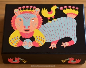 Primitive Style Hand Painted Jewelry Box OOAK