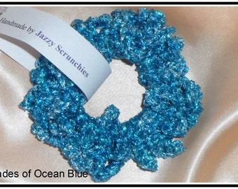 Blue Scrunchie, Ocean Blues, metallic scrunchie, SPARKLE scrunchie