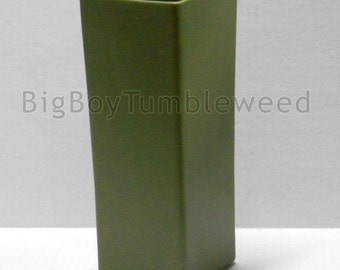 "Vintage 10"" tall FLORALINE Square geometric Avocado green ceramic art pottery flower vase art Pottery Mid Century decor"
