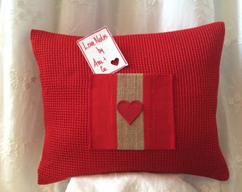 Love Note Pillow with love note card pouch