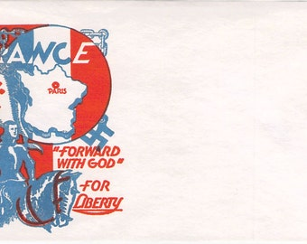 WW II Unused France Forward with God Patriotic Envelope by  Staehle for Cachet Craft