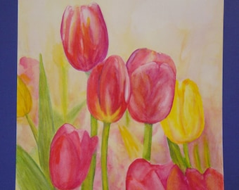 "Unframed Original Watercolor Painting of 7 Tulips (18.5"" x 14"")"