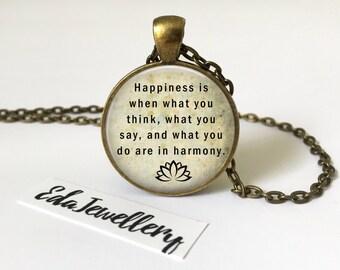 Gandhi Quote Pendant, Mahatma Gandhi Quote Necklace, Jewellery