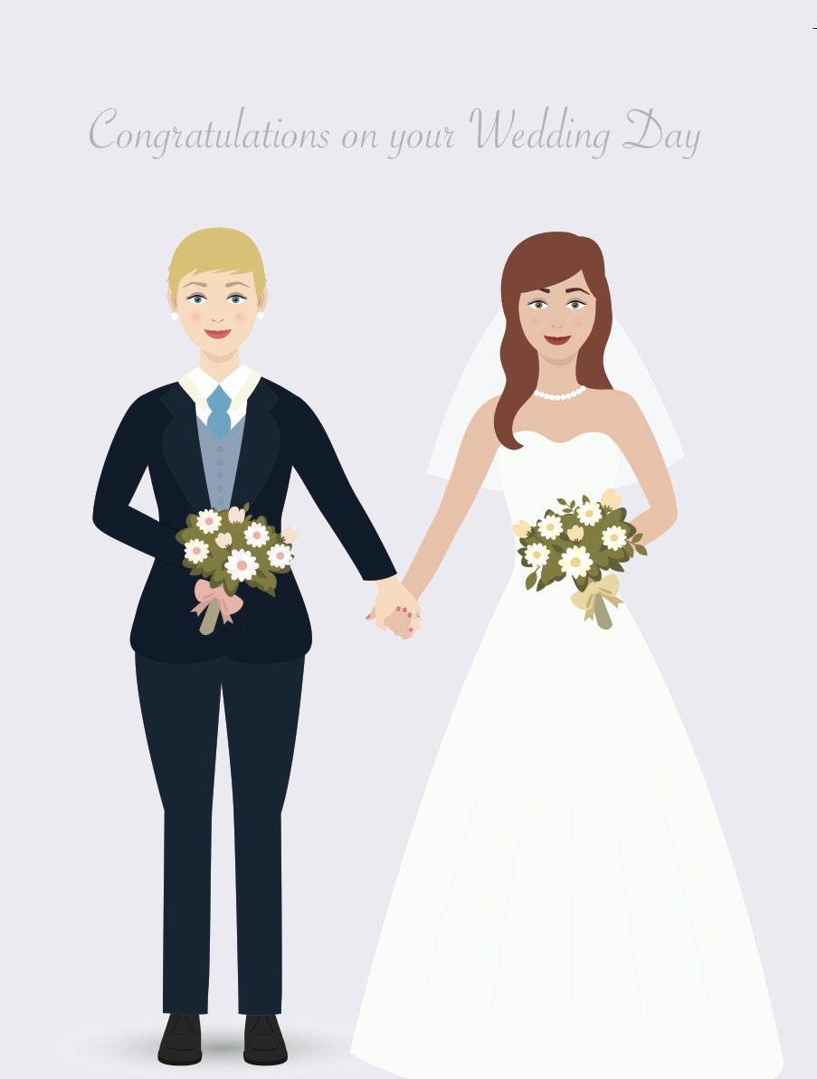 Lesbian beautiful brides suit dress lesbian wedding for Lesbian wedding dresses and suits