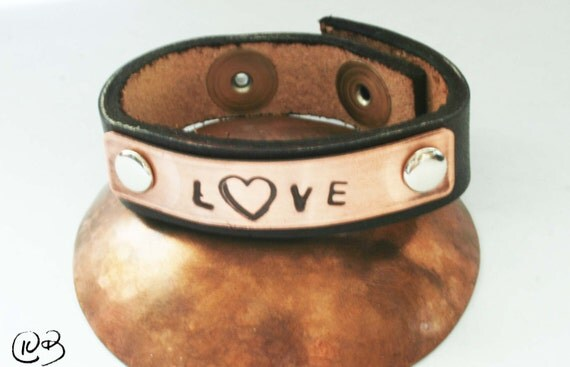 LOVE leather and copper bracelet. All you need is love