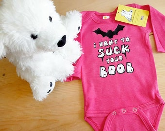 """The """"I Vant to Suck Your Boob"""" on Baby Long Sleeve Creeper Onesie"""
