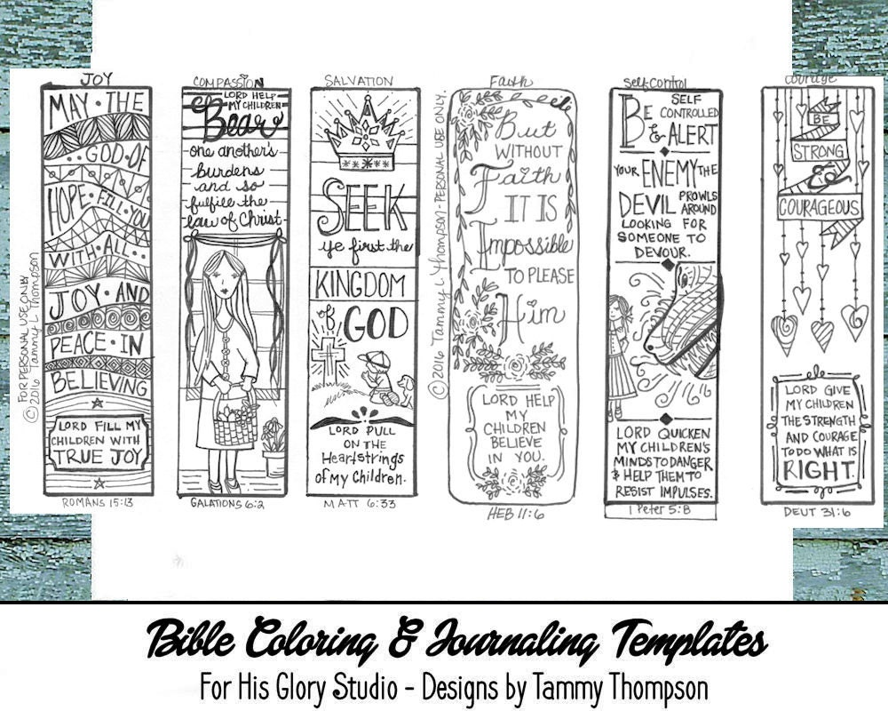 Religious bookmarks to color - Bible Journaling Series Pray For Our Children 6 Templates Bookmarks Coloring Bible Verses