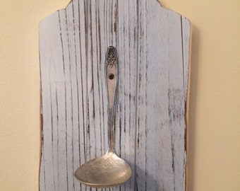 Antique Silver-Plated Ladle and Wood Candle Holder