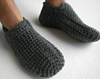 Crochet Slippers, Gray Slippers, Warm Slippers, Slipper Socks, Home Shoes, Mens Loafers, Men Accessories, Gifts for Dad, Mens Gift