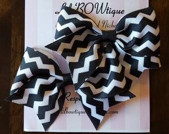 Pair of mini cheer bows chevron