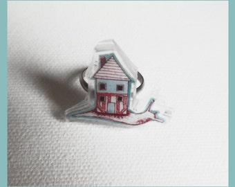 "Adjustable ring ""small snail and his house"""