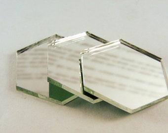 35mm x 2mm 100 pcs hexagon silver mirror glass mosaic tiles