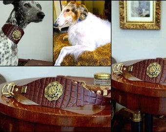 Leather dog collar ANTIQUE ROSE