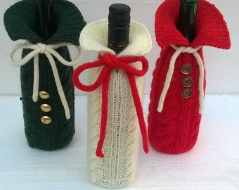 Knit Wine Gift bag, Cable knit, Wine stocking, Wine Bottle Cover, Wine Holder, St Patricks decor, St. Patricks wine label, st. patrick's day