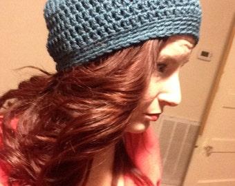 Crochet Slouchy Beanie in Teal
