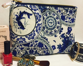 Vintage Blue China makeup/toiletries bag