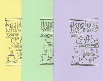 5 pack coffee and friends blank note cards