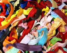 SALE Grab Bag of 100 Hair Ties (hair elastics) Bridesmaid Party Favors Yoga Birthday Ponytail ribbon elastic hair ties LLR Lularoe Customer