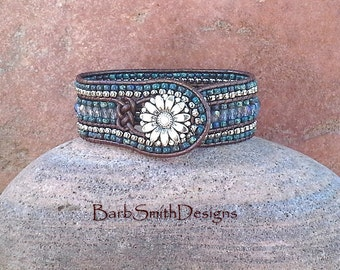 Blue Leather Beaded Wrap Cuff Bracelet - The Prairie Princess in Montana Blue