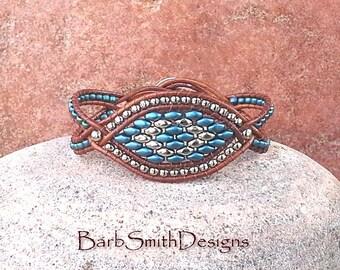 Blue Silver Leather Beaded Bracelet - The Starry-Eyed One in Petrol Blue - Custom size it!