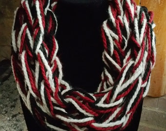 Red, Black and Cream Infinity Scarf