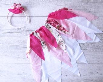 Shea Fairy Skirt Flower Crown Gypsy Skirt Faerie Skirt Girls Birthday Outfit Shabby Chic Photo Prop Outfit Flower Girl Dress Wedding