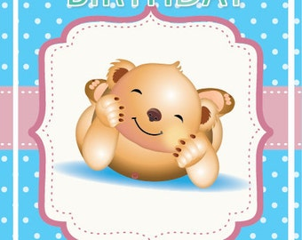 Personalised Printable Baby's First Birthday Card.