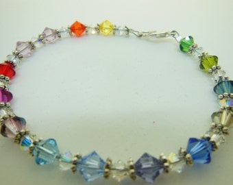RAINBOW colored bracelet with crystal spacers