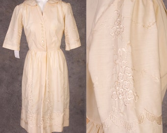 Vintage 1950s Pale Yellow Embroidered Cotton Day Dress NWOT