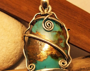 Blue Mojave Turquoise Handmade Pendant Silver Sterling 925