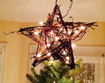 Vintage grapevine star tree topper (with or without lights)