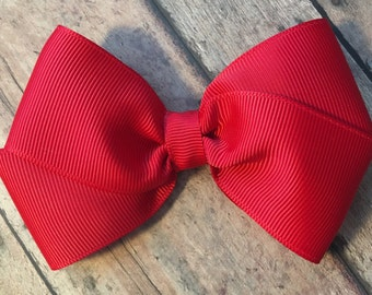 Red Hair Bow on Metal Clip, Elastic Headband or Hair Tie, Buy 3 Get 1 Free! Toddler Bow, Large Red Hair Bow, Red Grosgrain Bow