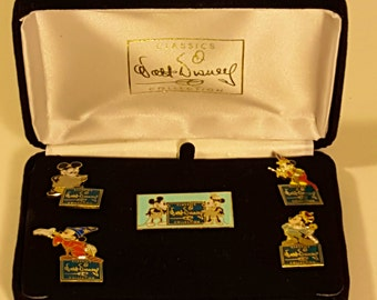 Final Markdown. Disney's Mickey Mouse Through the Years Pin Set with Velvet Box. AS IS.