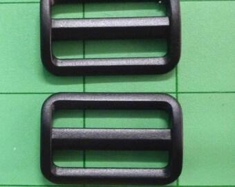 Tri Glide Sliders 1 & 1/4 in / 32 mm Black Plastic Set of 2