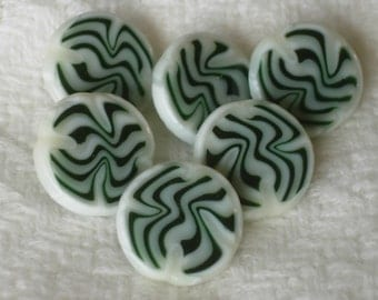 "Blown & Fused Glass Murinni Buttons, ""Gravaton"" Set of 6"