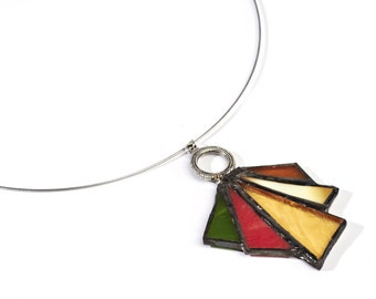 Necklace with glass pendant