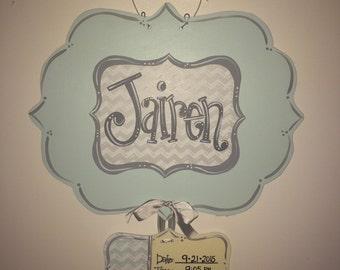 Baby Door Hanger, Hospital Door Hanger, Birth Announcement