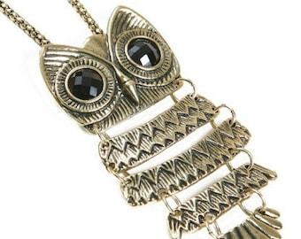 Owl Pendant Necklace Bronze