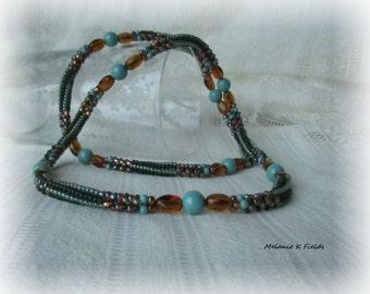 Green & Topaz Herringbone Rope Necklace with Swarovski Pearls