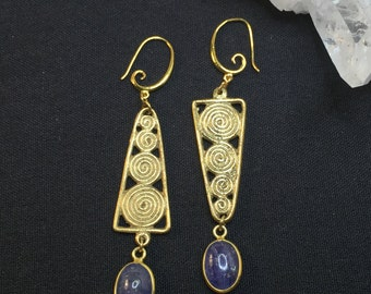 All Natural One Of A Kind Tanzanite Gold Earrings