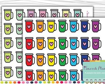 Coffee Mug Planner Stickers, Erin Condren Life Planner (ECLP), Happy Planner, Plum Paper | #ISP039