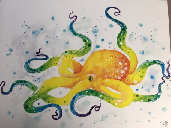 Items similar to colorful octopus watercolor painting for Colorful octopus painting