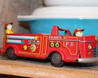 Vintage Tin Friction Fire Truck- MADE IN JAPAN