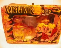 Ideal Toy Uneeda Wishnik 1960's Troll Dolls and Troll Niks and Naks Carry Case Original Great Condition containing 2  1960's Trolls