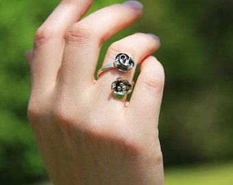 Sterling Silver Rose and Dogwood Flare Ring - Flower wrap ring -  Adjustable Ring - Sterling Flower Ring - Vine ring - Sherry Tinsman
