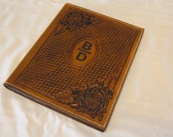 """Large Leather Note Pad, Note Book, Portfolio, Hand Carved, Hand Tooled, Sheridan, Western, 8 1/2"""" x 11"""" Note Pad, Leather"""